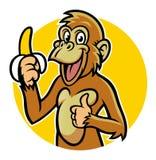 Het glimlachen van aap met banaan Stock Foto