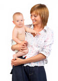 Het glimlachen van de baby en van de moeder. Royalty-vrije Stock Foto