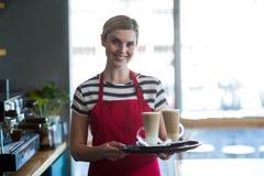 Het glimlachen van de kop van de serveersterholding van koude koffie bij teller in koffie Royalty-vrije Stock Foto's