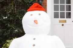 Het glimlachen van de sneeuwman Royalty-vrije Stock Foto's