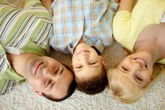 Het glimlachen van drie Stock Afbeelding