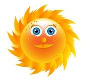 Het glimlachen van gele zon met blauwe ogen Stock Fotografie