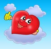 Het glimlachen van hart op wolk Royalty-vrije Stock Afbeelding