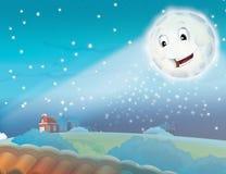 Het glimlachen van het beeldverhaal maan door de nacht met de sterren royalty-vrije illustratie