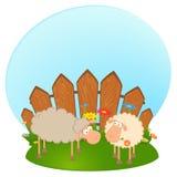 Het glimlachen van het beeldverhaal schapen in liefde Stock Foto