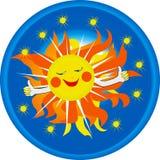 Het glimlachen van het embleem zon Stock Foto's