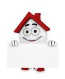 Het glimlachen van huis met teken Royalty-vrije Stock Afbeelding