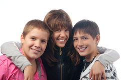 Het glimlachen van jongens en van het meisje stock afbeelding