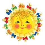 Het glimlachen van leuke beeldverhaalzon met vlechten en bogen Vector illustratie die op witte achtergrond wordt geïsoleerdd stock illustratie