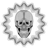 Het glimlachen van menselijke schedel op de achtergrond van de stervorm, zwart-witte tekening met uitgebroede en gevormde delen T Stock Foto