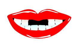 Het glimlachen van mond met tandhiaten Royalty-vrije Stock Fotografie