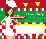 Het glimlachen van serveerster dienende pizza, plaatst voor uw tekst Royalty-vrije Stock Foto