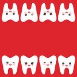 Het glimlachen van tand met roze wangen kaartontwerp, malplaatje voor tekst, donkerrode achtergrond Vector Royalty-vrije Stock Foto's