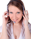 Het glimlachen van vrolijke klantenondersteuningstelefoon operat Royalty-vrije Stock Foto