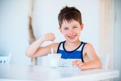 Het glimlachen van weinig jongen die heerlijke yoghurt eten Stock Foto's