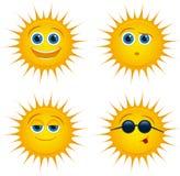 Het glimlachen van zonpictogrammen met zonnebril Royalty-vrije Stock Foto