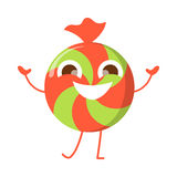 Het Glimlachende Geïsoleerde Karakter van het karamelsuikergoed bonbon stock illustratie