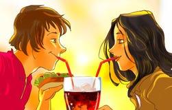 Het glimlachende jonge vrouw en man drinken Royalty-vrije Stock Afbeelding