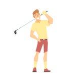 Het glimlachende karakter die van het beeldverhaalgolf palyer zich met golfclub vectorillustratie bevinden stock illustratie