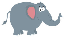Het glimlachende karakter van het olifantsbeeldverhaal Illustratie vlak ontwerp Stock Foto's