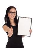 Het glimlachende klembord van de bedrijfsvrouwenholding stock afbeeldingen