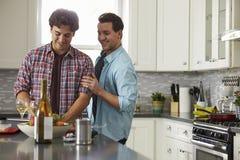 Het glimlachende mannelijke vrolijke paar die een maaltijd voorbereiden kijkt thuis neer Stock Afbeelding