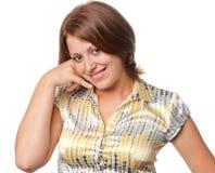 Het glimlachende meisje toont gebaar stock foto's