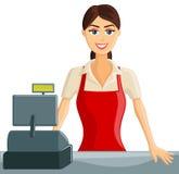 Het glimlachende Meisje van de Kassier Stock Foto