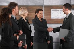 Het schudden van de zakenman en van de onderneemster handen Stock Fotografie