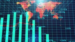 Het globale BBP voorspelde presentatie, de achtergrond van de wereldkaart, olieprijzen, BBP-groei stock illustratie