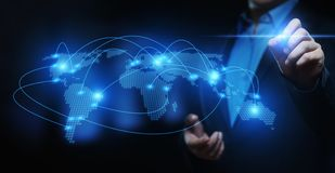 Het globale Communicatie concept Wereldwijd van Internet van de Bedrijfsnetwerktechnologie stock foto's