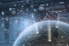Het globale concept van het blockchainnetwerk stock illustratie