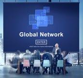 Het globale Concept van de de Technologie Online Verbinding van Netwerkinternet Stock Afbeeldingen
