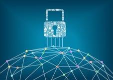 Het globale IT concept van de veiligheidsbescherming aangesloten apparaten Stock Foto