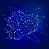 Het globale concept van het logistieknetwerk Communicatienetwerkkaart Andorra op de wereldachtergrond Kaart van Andorra met knope royalty-vrije illustratie