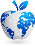 Het globale dorp - technologie abstracte appel Stock Foto's