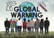 Het globale het Verwarmen Concept van de Klimaat Milieuindustrie royalty-vrije stock afbeeldingen