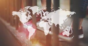 Het globale Internationale Concept van het Globaliseringsvoorzien van een netwerk Stock Foto
