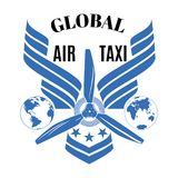 Het globale vectorembleem van de luchttaxi, het malplaatje van het embleemontwerp Stock Afbeeldingen