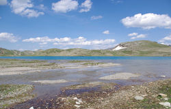 Het globale verwarmen en dooi van gletsjers - Lej-Grand, Pontresina, Zwitserland Stock Afbeelding