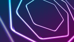 Het gloeien abstracte videoanimatie van neon retro zeshoeken stock video