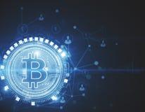 Het gloeien bitcoin achtergrond Royalty-vrije Stock Foto