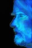 Het gloeien blauw geschetst profiel van de gebaarde mens met tulband vector illustratie