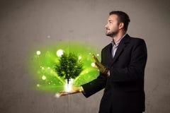 Het gloeien boom het groeien in de hand van een zakenman Royalty-vrije Stock Afbeelding