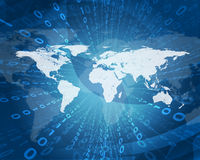 Het gloeien cijfers en wereldkaart Hoog - technologieachtergrond Royalty-vrije Stock Afbeelding