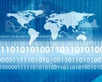 Het gloeien cijfers en wereldkaart Hoog - technologieachtergrond Stock Foto
