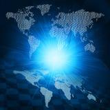 Het gloeien cijfers en wereldkaart Hoog - technologieachtergrond Royalty-vrije Stock Foto