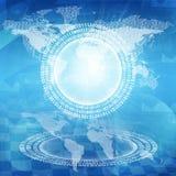 Het gloeien cijfers en wereldkaart Hoog - technologieachtergrond Royalty-vrije Stock Afbeeldingen