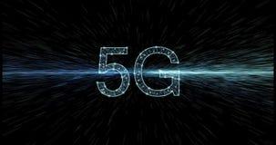 Het gloeien 5G van veelhoeknetwerk, met samenvatting hyperspace stock footage