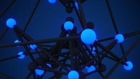 Het gloeien geeft blauw 3D het close-up abstract sc.i-FI van het atoomnet terug Royalty-vrije Stock Afbeeldingen